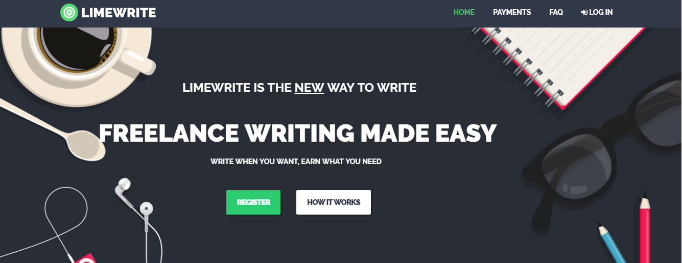 The site is for freelances beginning their career in writing on various categories