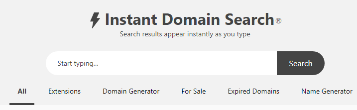 Domain instant search