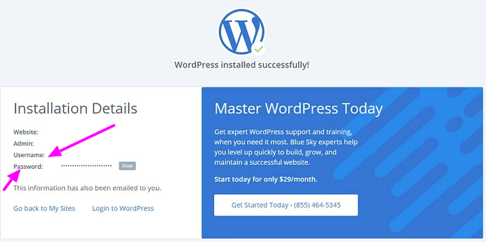 Login Area for your WordPress